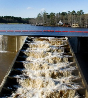 A fish ladder on Hope Mills Lake in Hope Mills, N.C. (Credit: Brandon P, via Wikimedia Commons)