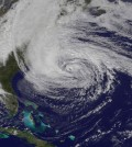 Superstorm Sandy after making landfall on the U.S. East Coast (Credit: NASA)
