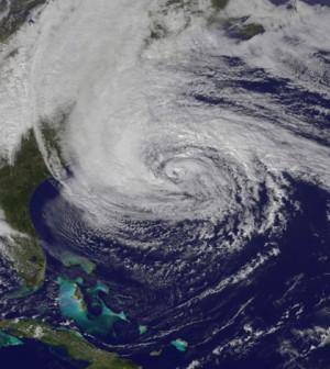 Superstorm Sandy after making landfall on the U.S. East Coast (Credit: NASA)