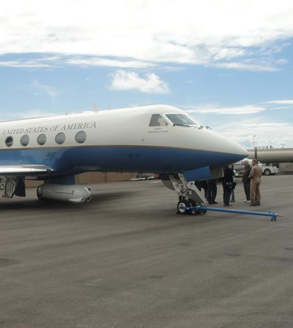 NASA's Gulfstream III carrying Uninhabited Aerial Vehicle Synthetic Aperture Radar (Credit: NASA)