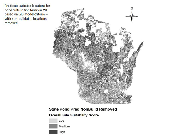 Model-predicted suitable locations for pond fish farms (Credit: University of Wisconsin - Stevens Point)