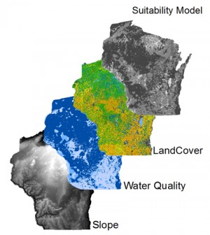 The aquaculture GIS map includes layers of land cover and water quality data (Credit: University of Wisconsin - Stevens Point)