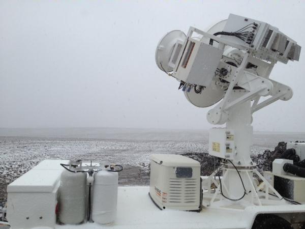 NASA Dual-Frequency Dual-Polarized Doppler Radar operating during a May 2 snowfall in Central Iowa (Credit: NASA)