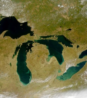 Satellite image of the Great Lakes from space (Credit: SeaWiFS Project, NASA/Goddard Space Flight Center, and ORBIMAGE.)