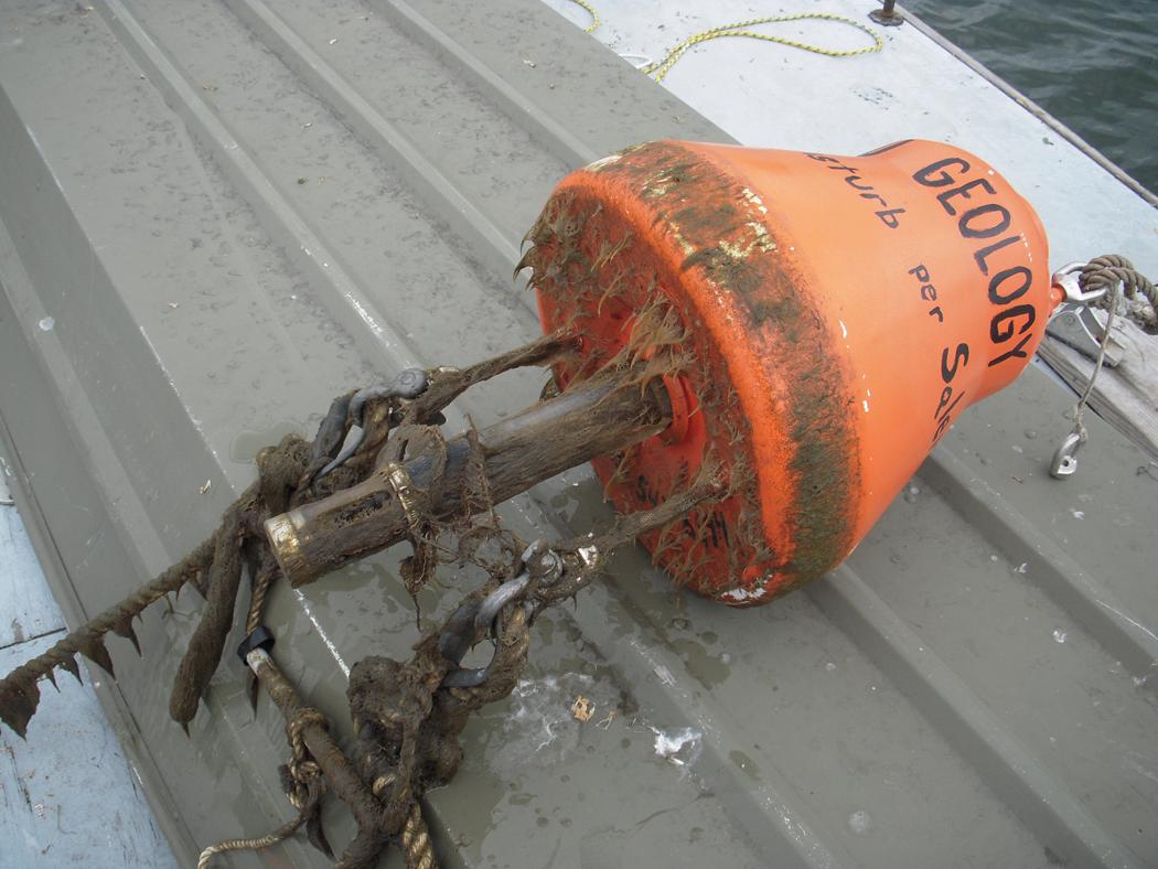 A monitoring buoy after spending some time Salem Harbor (Credit: Brad Hubeny)