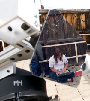One of the Montana State University teams in last year's National Student Solar Spectrograph Competition analyzes data from a spectrograph of the sun. (Credit: MSU News Service)