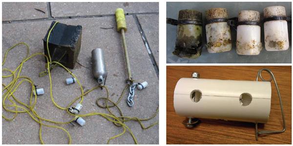 Left: The sensor array setup. Top right: Nalgene bottles chewed by muskrats. Bottom right: the new PVC housing (Credit: Howard Webb)
