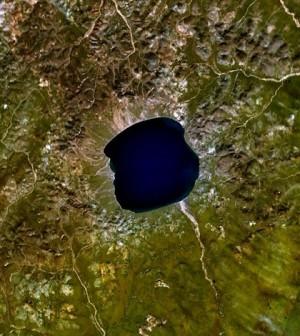 Satellite image of Lake El'gygytgyn in Russia (Credit: Vesta, NASA WorldWind)