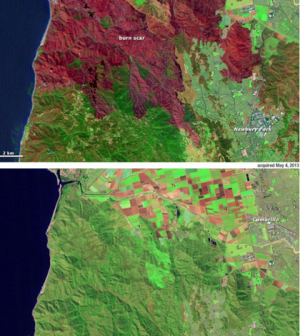 A before-and-after image series of a burn scar in southern California captured by Landsat 8 (Credit: USGS)