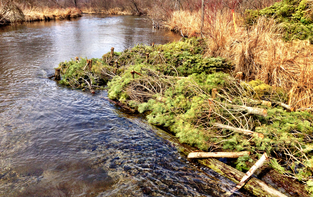 Wood structures help accelerate flows and clean out sediment (Credit:  Fawn River Restoration and Conservation Charitable Trust)