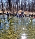 A Streamside Environmental crew works the Stream Wand over the Fawn River's gravel bed (Credit: Fawn River Restoration and Conservation Charitable Trust)