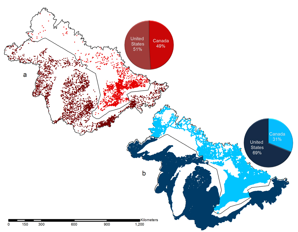 Potential barrier distribution in the US and Canada. Dams are in red (a) and the road crossings are in blue (b).