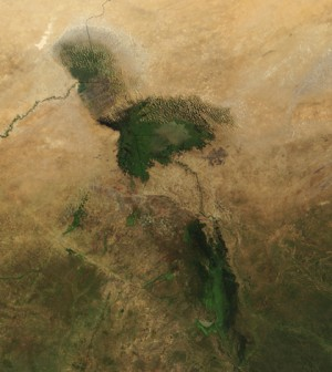 An image of the dwindling Lake Chad captured by the MODIS satellite in 2001 (Credit: NASA)