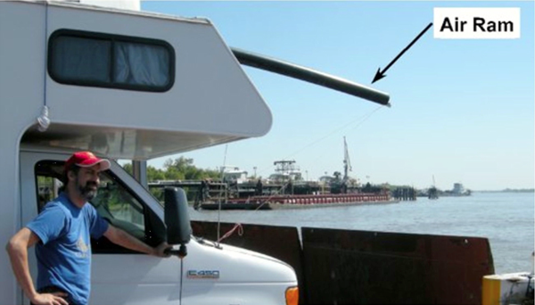 Air ram intake valve on the RV, shown crossing the Mississippi River (Credit: UCSB)