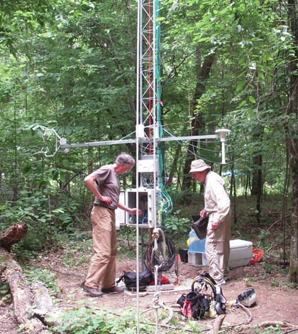 Scientists study air chemistry during the Southeast Atmosphere Study. (Credit: National Center for Atmospheric Research)