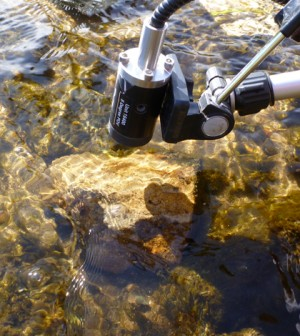 Top image: This optical attachment connected the spectroradiometer to a submersible fibre optic cable allowed for measurements above and below water (Credit: Carl Legleiter)