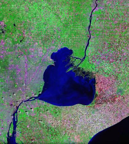 St. Clair River, Lake St. Clair and the Detroit River (Credit: NASA)