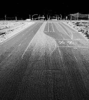 LIDAR can capture considerable data on nearby terrain, as seen in this image of an ordinary highway. (Credit: Oregon State University)