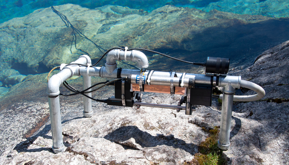 Instrument monitoring package, including a transmissometer, ready for deployment in Blue Lake. (Credit: Mark Gall)