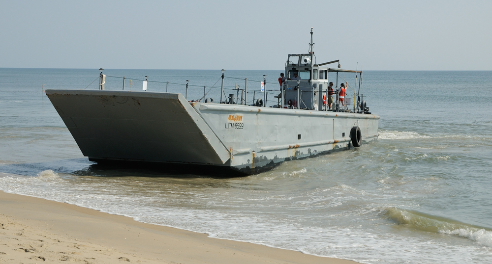 The military landing vehicle the researchers used to dig a trench that would create a rip current (Credit: Steve Elgar)