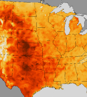 A map of the July 2013 heat wave (Credit: NOAA)