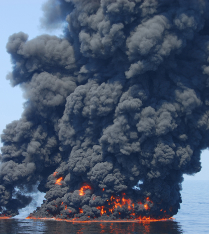 Burning oil from the 2010 Deepwater Horizon oil spill (Credit: U.S. Coast Guard)