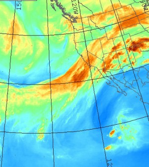 Satellite image of atmospheric river in the eastern Pacific Ocean (Credit: United States Naval Research Laboratory)