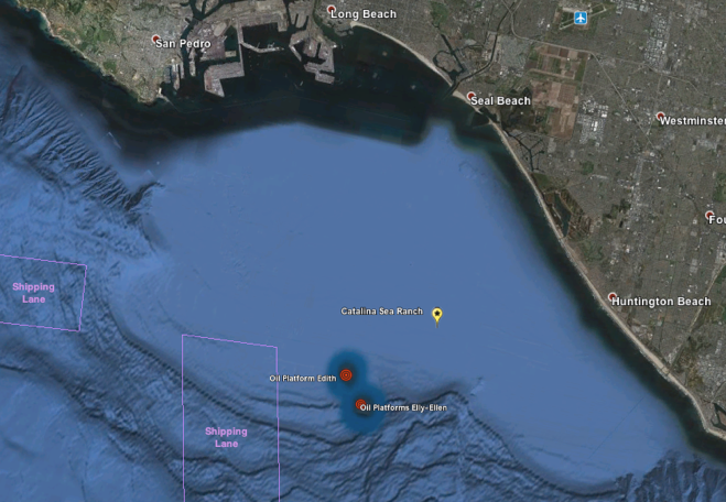 The shellfish farm will be anchored 5.5 miles out on the San Pedro Shelf (Credit: Catalina Sea Ranch)