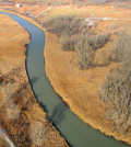 A segment of the East Branch Grand Calumet River near where dredging is underway to remove contaminated sediments. (Credit: SulTRAC)