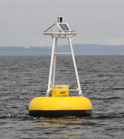 King County's marine monitoring buoy off Point Williams in Puget Sound (Credit: Kimberle Stark)