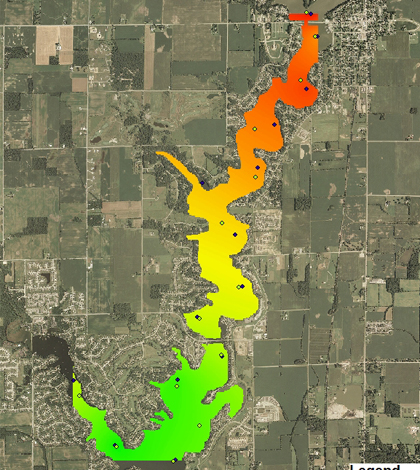 A map of chlorophyll distribution created from data collected on Morse Reservoir using boat-based sensors (Credit: Anthony Nguy-Robertson)