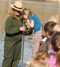 Students from Davenport Elementary School peer into a turbidity tube. (Credit: National Park Service)