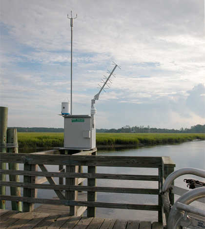 GOES-satellite real-time satellite transmitted weather data at the Sapelo NERR (Credit: Sapelo Island National Estuarine Research Reserve)