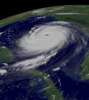 GOES-12 captured this visible image of Hurricane Katrina on August 28, 2005 (Credit: NOAA)