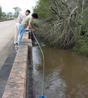 Bridge crossings provided samlping sites for water sampling on the Bayou Plaquemine Brule