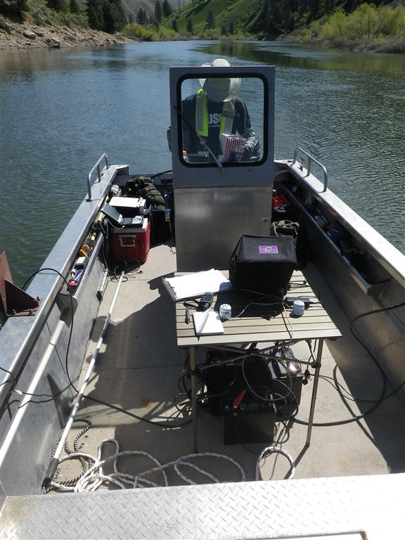 Mobile tracking surveys were conducted weekly with a boat-mounted receiver (Credit: USGS)