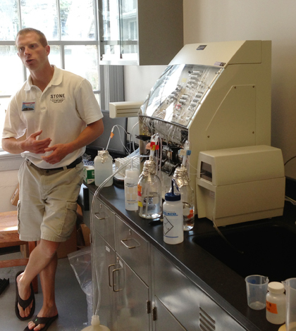 Top image: Justin Chaffin explains instrumentation and algae analysis at the new Ohio Sea Grant water quality lab. (Credit: Daniel Kelly)