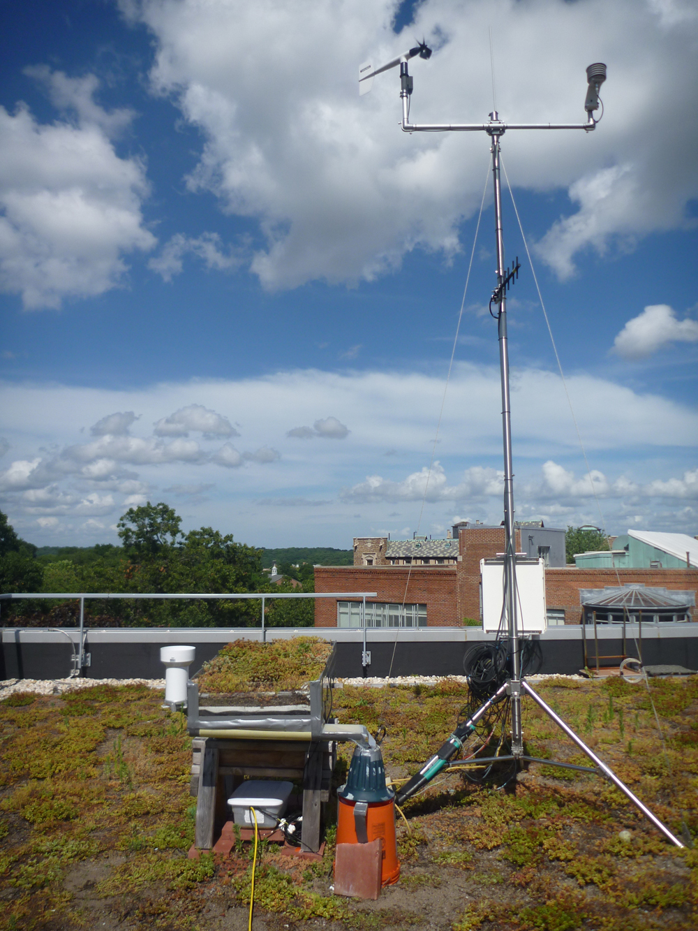 Wind and rain gauges provide climatic data, which is plugged into equations for calculating evapotranspiration. (Credit: Franco Mantalto)