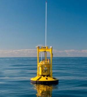 An OPT power-generating buoy (Credit: Ocean Power Technologies)