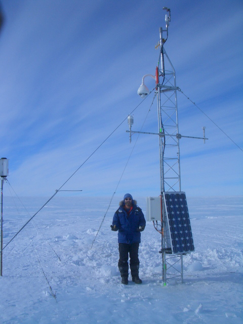 Ross with a station at the runway threshold of the basecamp Patriot Hills operated by Antarctic Logistics and Expeditions