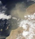 A plume of Saharan dust blows over the Atlantic Ocean from North Africa (Credit: NASA)