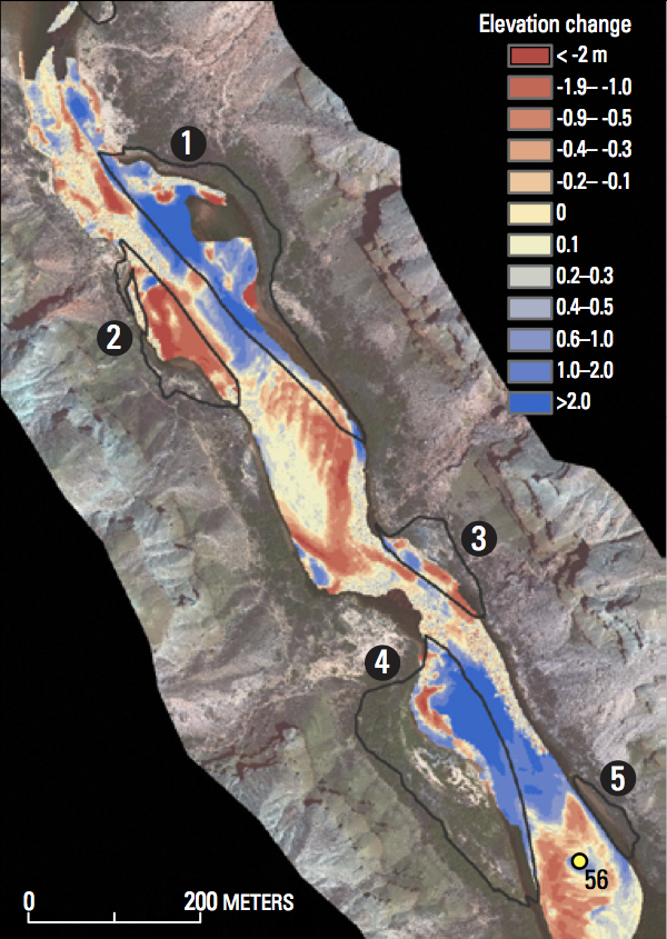 Data from topographic surveys shows erosion (red) and deposition (blue) between December 2004 and May 2009 (Credit: USGS)