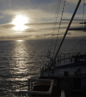 Low Arctic sun as seen from the R/V Lance (Credit: WHOI)