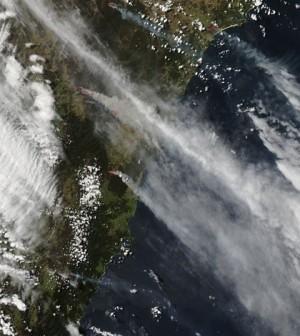 Australian wildfires captured by NASA's Aqua satellite (Credit: NASA)