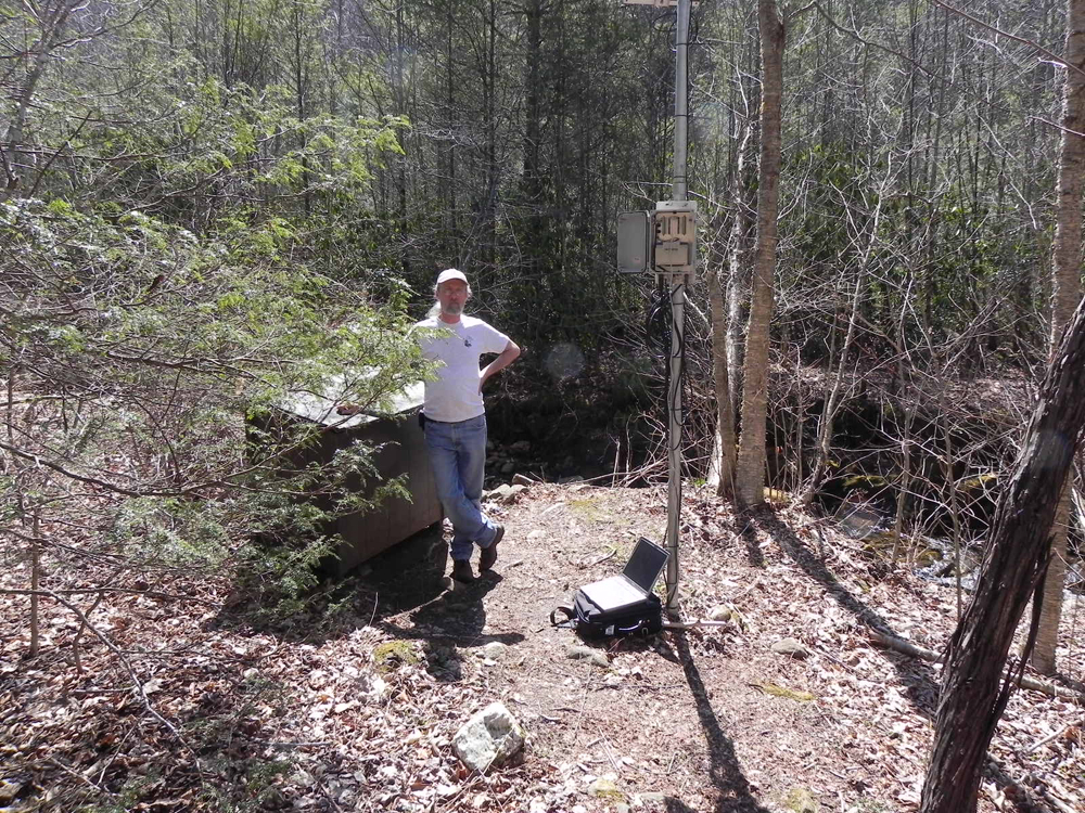 Servicing a monitoring station in West Carolina University sensor network in the Allens Creek Watershed