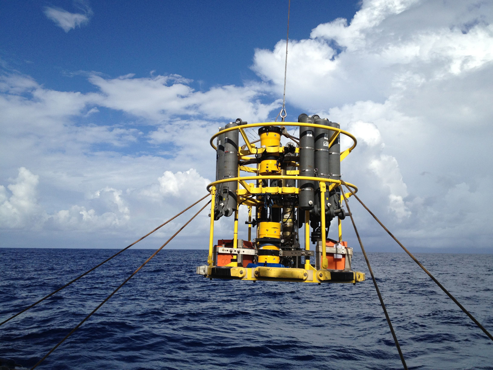The researchers towed a CTD trough the deep-sea wave (Credit: University of Washington)