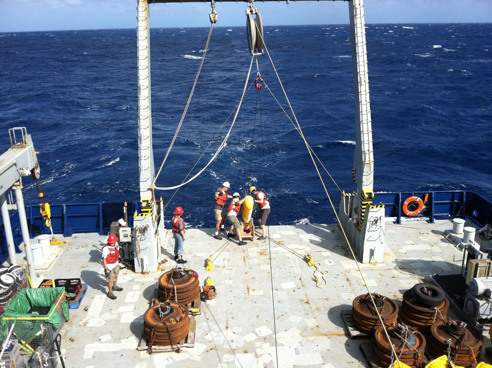 The team deployed profilers that crawl up and down Kevlar lines recording measurements of turbidity (Credit: University of Washington)