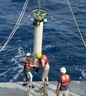 The University of Washington research team deployed instruments in the deep-sea wave over the Samoan Passage (Credit: University of Washington)