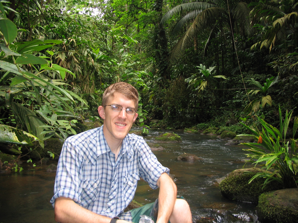 Gaston Small alongside a stream in the La Selva Biological Station in Costa Rica