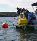 The Lake Auburn data buoy was launched in July (Credit: Kate Paladin)